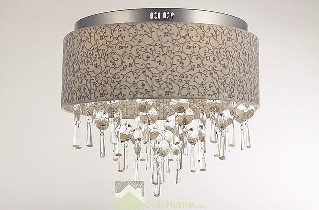 Living Room Fabric Lampshade Crystal Ceiling Lighting Modern Flush Mount