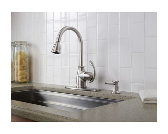 Moen Terrace Spot resist stainless one-handle high arc pulldown kitchen faucet - Product Features