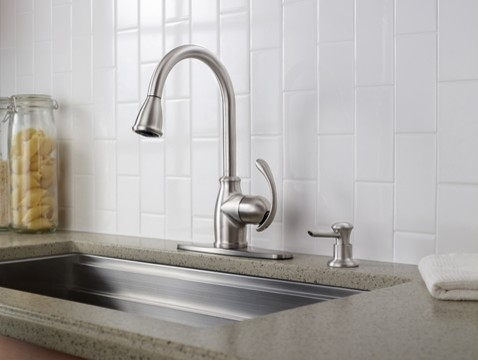 Moen Terrace Spot resist stainless one-handle high arc pulldown kitchen faucet kitchen-faucets