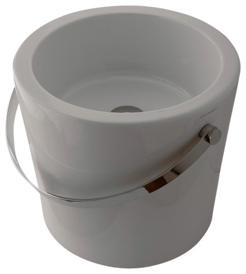 ... White Bucket Ceramic Vessel Sink, No Hole contemporary-bathroom-sinks