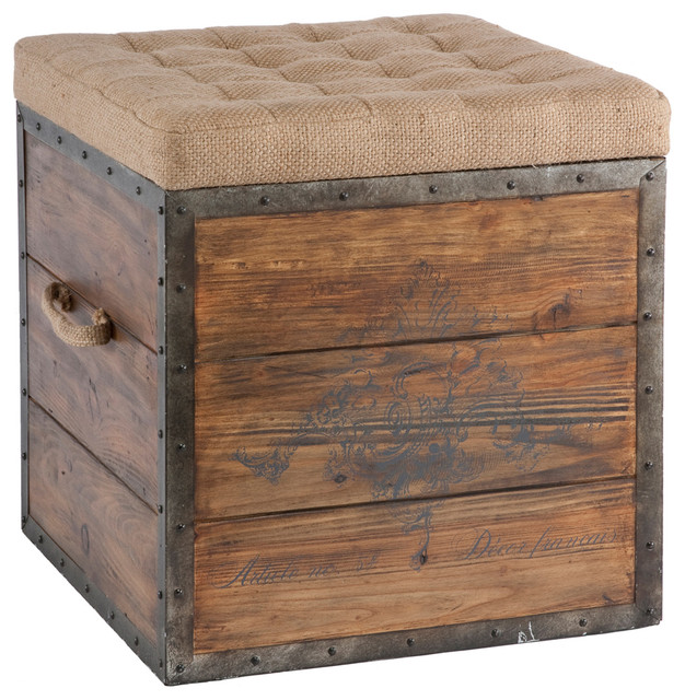 French Country Ottoman Coffee Table: French Country Wood Crate Burlap Top Cube Ottoman