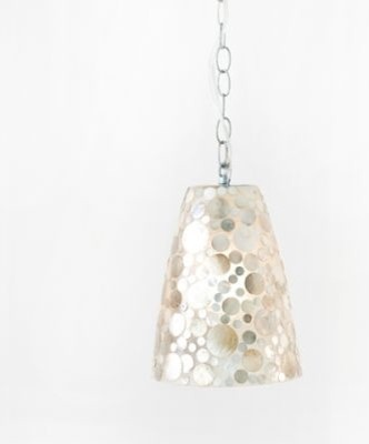 George Shell Fiberglass Pendant Light by Worlds Away eclectic-pendant-lighting