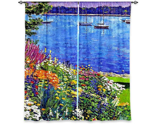 """DiaNoche Designs - Window Curtains Lined by David Lloyd Glover Sailboat Bay Garden - Purchasing window curtains just got easier and better! Create a designer look to any of your living spaces with our decorative and unique """"Lined Window Curtains."""" Perfect for the living room, dining room or bedroom, these artistic curtains are an easy and inexpensive way to add color and style when decorating your home.  This is a woven poly material that filters outside light and creates a privacy barrier.  Each package includes two easy-to-hang, 3 inch diameter pole-pocket curtain panels.  The width listed is the total measurement of the two panels.  Curtain rod sold separately. Easy care, machine wash cold, tumble dry low, iron low if needed.  Printed in the USA."""