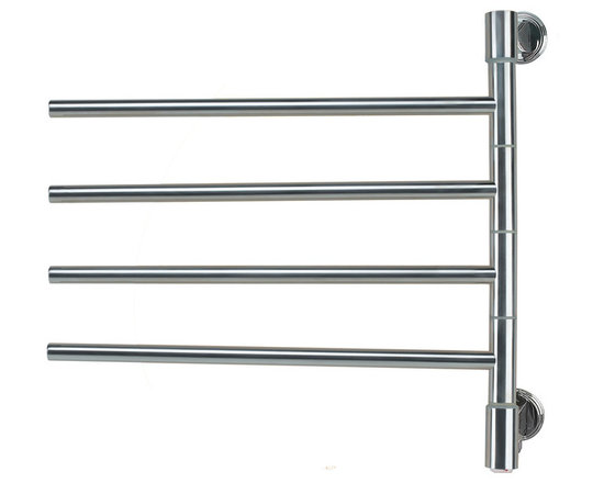 "Hudson Reed - Swivel Electric Plug In Heated Towel Rail 22 x 21 Brushed & Polished - The Swivel towel warmer by Amba is so called because its four bars conveniently swivel, giving you easy and instant access to warm, dry towels throughout the year.  This attractive and stylish towel warmer has a sleek and modern design, which is perfectly complemented by a chrome finish in a choice of brushed or polished effects to suit your space.    Measuring 22"" x 21"" and with a depth of 3.9"", this model provides generous storage, and achieves an output of 40 Watts (136 BTUs), which will rapidly and thoroughly heat all the household towels and other garments.    This towel warmer comes with a two year guarantee.  Swivel Electric Heated Towel Rail 22 x 21 Brushed & Polished Details:  Dimensions: (W x H x D) 22 x 21 x 3.9  Output: 40 Watts (136 BTUs)  Number of bars: 4   Suitable for bathroom, guest bathroom, kitchen etc.  2 year warranty"