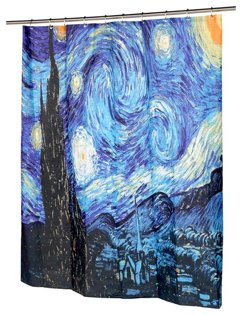 Starry Night Bathroom Shower Curtain