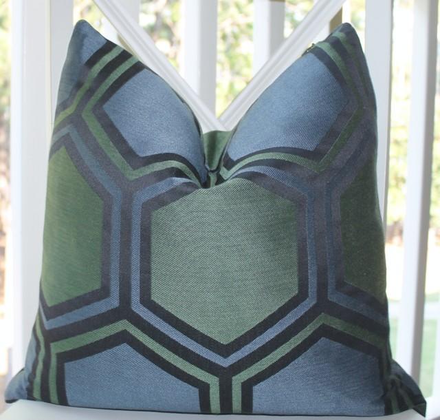 Blue Green Geometric Large Scale Trellis Pillow Cover home-decor
