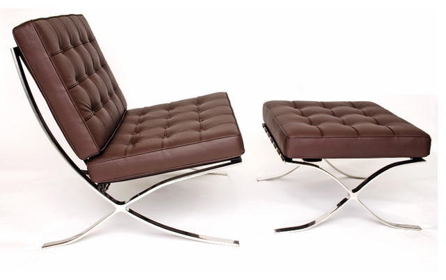 Barcelona chair and stool contemporary armchairs and for Modern armchair