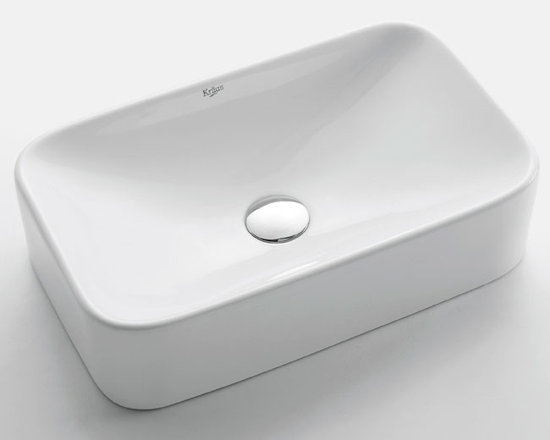 Kraus KCV-122 White Rectangular Ceramic Sink - Add an elegant touch to your bathroom with a ceramic washbasin