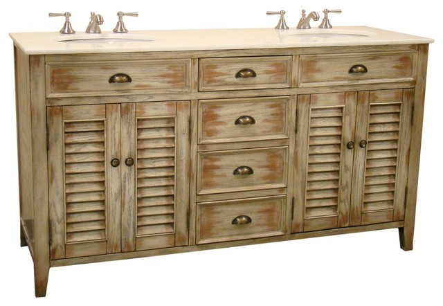 Abbeville 60 In Double Sink Bath Vanity Shabby Chic Bathroom Vanities And Sink Consoles By