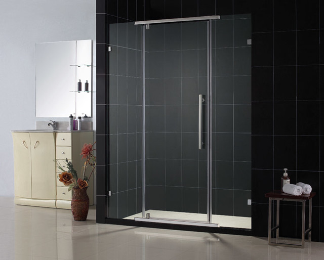 "VITREO 58"" x 76"" Frameless Swing Door Chrome modern-showers"