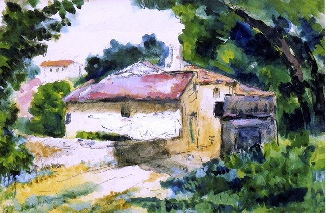 "Paul Cezanne House in Provence - 16"" x 24"" Premium Archival Print traditional-artwork"