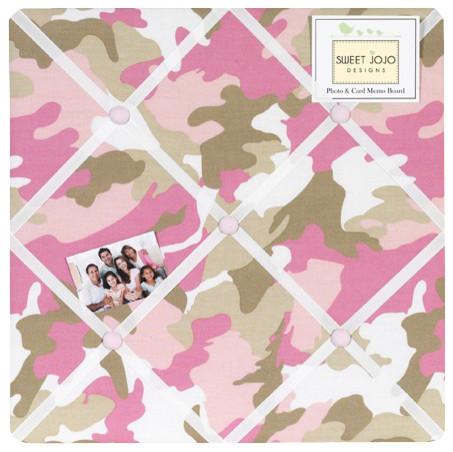 Camo Pink Fabric Memo Board Contemporary Bulletin