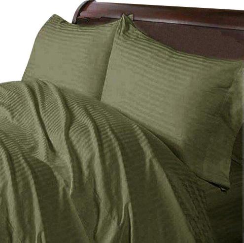 600TC 100% Egyptian Cotton Stripe Moss California King Size Flat Sheet contemporary-flat-sheets