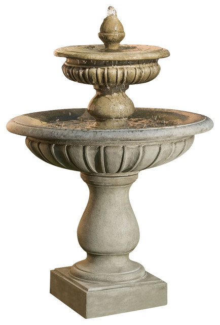 Longvue Outdoor Water Fountain, Aged Limestone traditional-outdoor-fountains-and-ponds