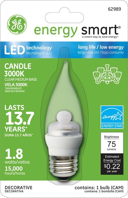 GE Energy Smart 10W Replacement (1.8W) Candle CA11 LED Bulb (Warm, Clear, E26) ceiling-lighting