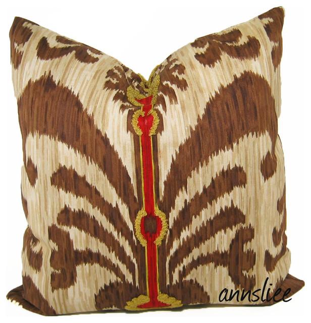 Ikat - Wild Bird in Flight contemporary-pillows