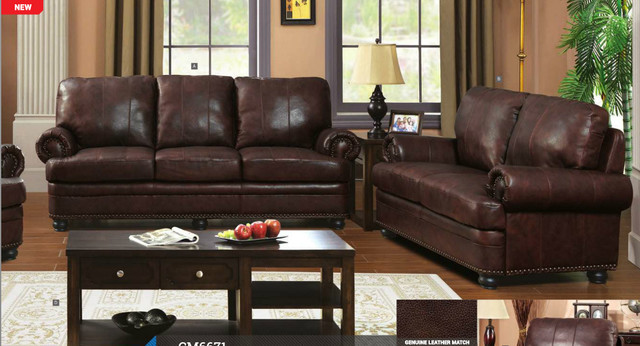 Brown Genuine Leather Sofa Couch Loveseat Living Room