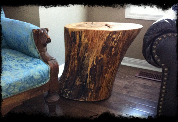 Solid Wood Reclaimed Log Round Side Table Contemporary
