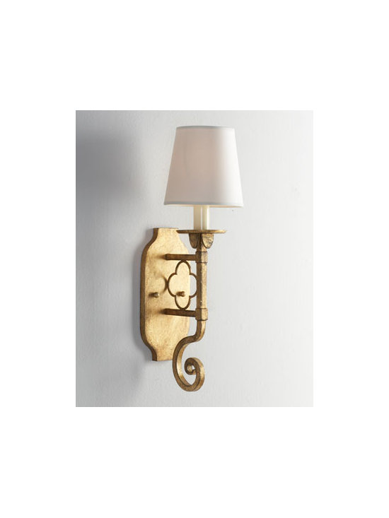 "VISUAL COMFORT - VISUAL COMFORT ""Margarite"" Sconce - Glamour resonates from this handcrafted gilded wall sconce. Add another to balance the ambiance. Designed by Suzanne Kasler for Visual Comfort. Made of iron with a gilded finish. Uses one 60-watt bulb. Professional installation required. 4.75""W...."