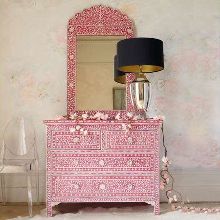Pink and Mother-of-Pearl Inlay Chest of Drawers eclectic dressers chests and bedroom armoires
