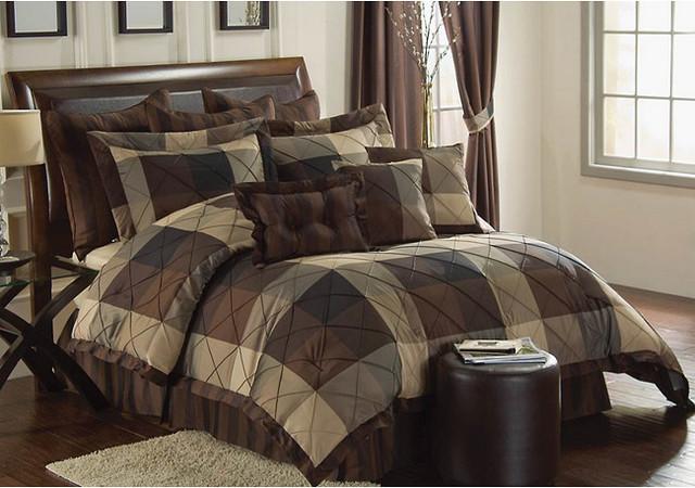 carlton oversized king size 10 piece comforter set contemporary duvet covers and duvet sets. Black Bedroom Furniture Sets. Home Design Ideas