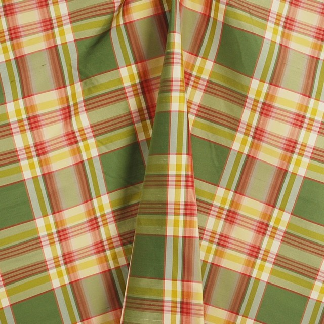 PDS 1328A Plaid Green Red Silk Fabric By The Yard