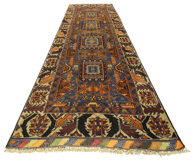 Navy Blue 3' X 9' Oriental Tribal Hand Knotted Wool Persian Rug Runner P736 traditional-hall-and-stair-runners
