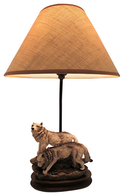 Wild Wolves Table Lamp With Burlap Shade 20 In