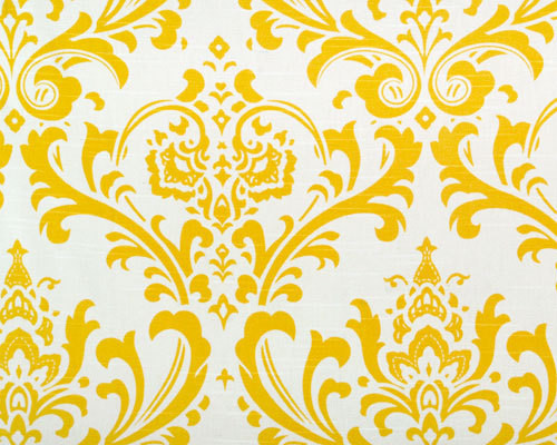 Bright Cornflower Yellow and White Traditions Damask by Home Lush contemporary fabric