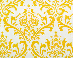 Bright Cornflower Yellow and White Traditions Damask by Home Lush contemporary-fabric