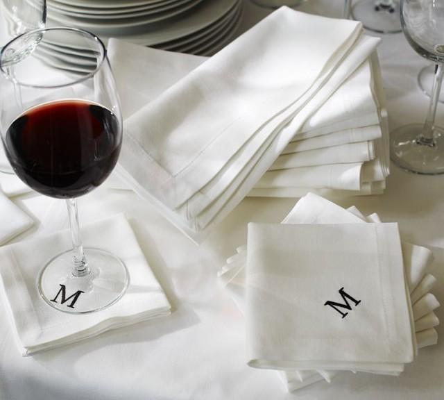 Caterer's 6-Piece Cocktail Napkin Set, White traditional-napkins