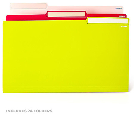 File Folder, Legal, White/Pink/Lime Green - Modern - Serving Dishes And Platters - by Poppin