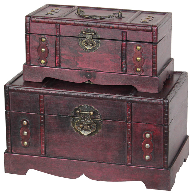 Antique Wooden Trunk, Old Treasure Chest Set of 2 rustic-decorative-trunks