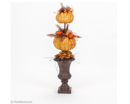 Custom Double Pumpkin Topiary - Custom Double Pumpkin Topiary Placed in a Brown Urn