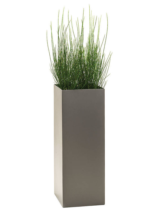 Modern Planter - Modern Tower Planter, Pewter, Large - Add height and dimension to any space with our Modern Tower plant containers.  Available with or without drain holes.
