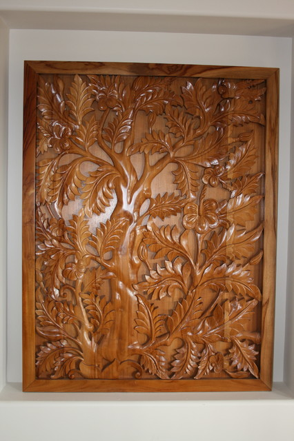 Relief wood carving from indonesia for home decoration
