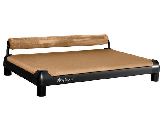 DoggySnooze - snoozeSleeper, Anodized Frame, 1 Bolster Tan - Designed for the discerning dog (you know the one — he'd be on your couch all day if you'd let him), this slightly elevated designer dog bed, in an anodized black frame, lets your pooch stretch out and relax. Choose the bolster color that complements your decor the best. Made in the USA.