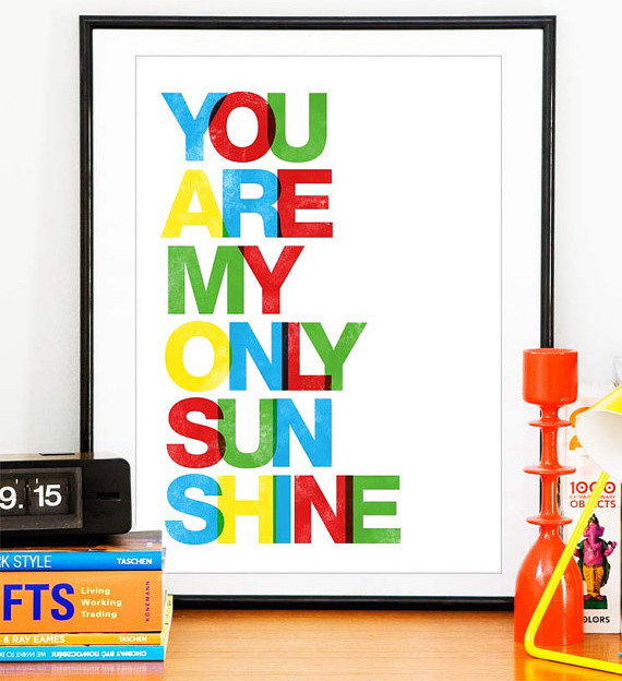 Colorful Art Print Rainbow Letters by Handz modern kids decor