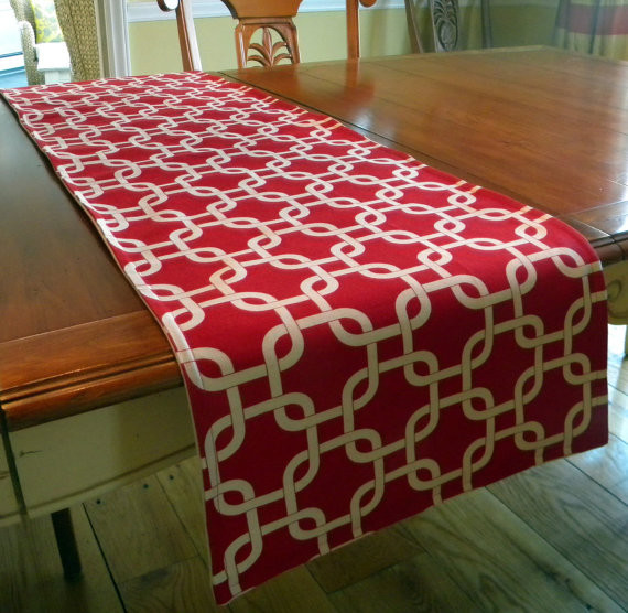 Table Runner Contemporary Red and White Lattice by Decorate 23 - Modern - Table Runners - by Etsy