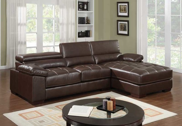 Modern Small Brown Leather Sectional Sofa Chaise Tuft