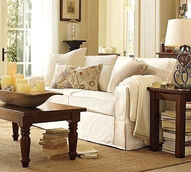PB Comfort SquareSofaTicking StripeBrownstoneSlipcover traditional-living-room-chairs