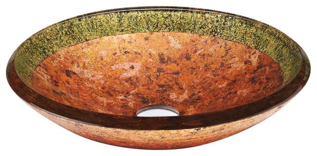 Mediterranean Bathroom Sinks: Janus Glass Vessel Sink