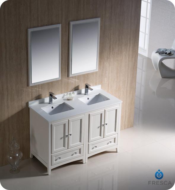 48 Oxford Double Vanity White FVN20 2424AW Modern San Diego B