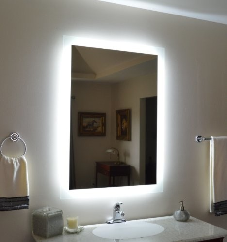 Wall mounted lighted vanity mirror modern bathroom - Bathroom vanity mirror side lights ...