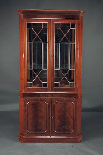 High End Mahogany Corner China Cabinet for Traditional Dining Room (K NDRC 025) - Traditional ...