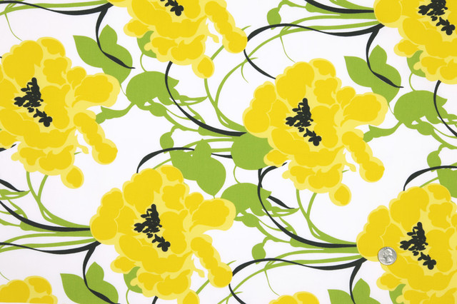 Yellow Floral Fabric Contemporary Fabric By