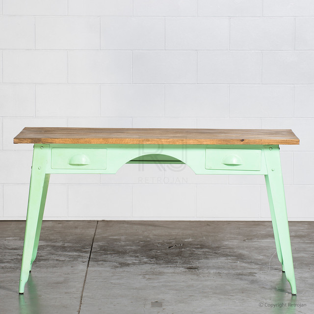 Marecellino Industrial Desk Mint Green Industrial