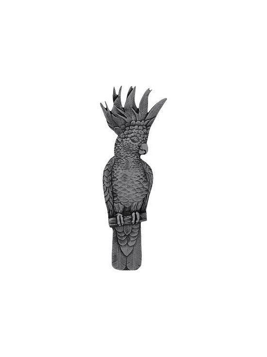 """Inviting Home - Left Vertical Cockatoo Pull (brilliant pewter) - Hand-cast Left Vertical Cockatoo Pull in brilliant pewter finish; 1-3/4""""W x 4-5/8""""H; Product Specification: Made in the USA. Fine-art foundry hand-pours and hand finished hardware knobs and pulls using Old World methods. Lifetime guaranteed against flaws in craftsmanship. Exceptional clarity of details and depth of relief. All knobs and pulls are hand cast from solid fine pewter or solid bronze. The term antique refers to special methods of treating metal so there is contrast between relief and recessed areas. Knobs and Pulls are lacquered to protect the finish. Detailed Description: If you are intrigued by fashionable and playful accessories than you will love the Cockatoo pulls - they come in vertical and horizontal options which would bring amazing variety without having to search at all. You can use the vertical pulls on the cabinet doors and the horizontal pulls on the drawers. If you have any smaller drawers you could also work in the Cockatoo Knobs making it a complete collection while displaying variety."""