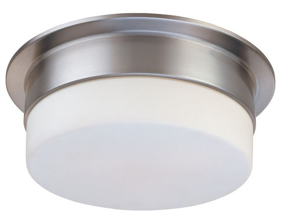"Sonneman - Sonneman Flange 12"" Satin Nickel Ceiling Light Fixture - A clean white shade is understated and provides the ideal room lighting. The lack of detail means this fixture will blend well with many decors. Design by Sonneman. Satin nickel finish. White frosted glass. Takes two 60 watt medium base bulbs (not included). 5"" high. 12"" diameter. Shade is 3"" high 9 1/2"" diameter.  Satin nickel finish.  White frosted glass.  Takes two 60 watt medium base bulbs (not included).  5"" high.   12"" diameter.  Shade is 3"" high 9 1/2"" diameter."