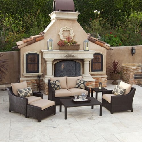 Rst Outdoor Delano All Weather Wicker Deep Seating Set Contemporary Patio Furniture And